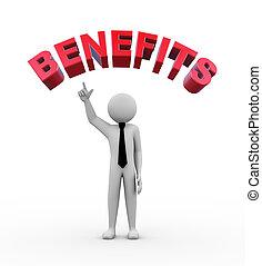 3d businessman - word benefits illustration