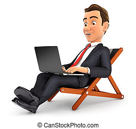 3d businessman working on vacation