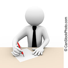 3d businessman writing illustration - 3d rendering of...