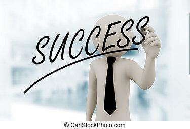 3d businessman writing success on touch screen