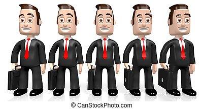 3D businessmen concept