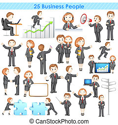 illustration of 3d businesspeople collection doing different activities