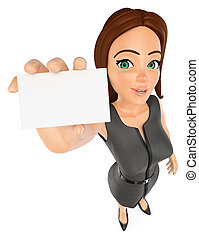 3D Businesswoman with a blank card