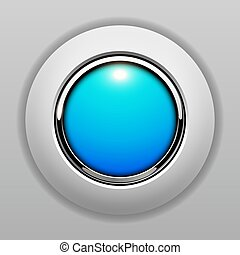 3D button blue
