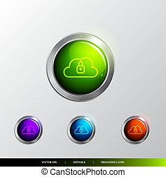 3D Button cloud locked icon.