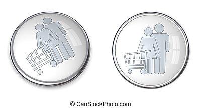 3D Button Couple Shopping