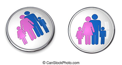 3D Button Family With Kids Pictogram - 3D button family with...