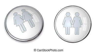 3D Button Female Couple Pictogram