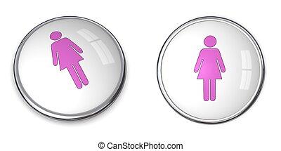3D Button Female Pictogram