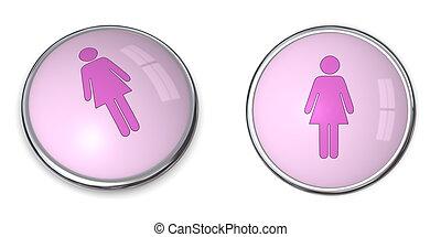 3D Button Female Pictogram - 3D button female pictogram -...