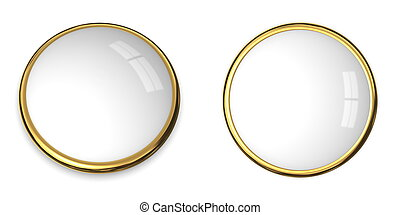 3D Button Gold and White Surface - 3D button template in...
