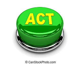 3d button green act start push