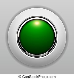 3D button green