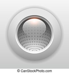 3D button grey, shiny glass push button vector background.