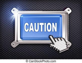 3d button hand cursor - caution