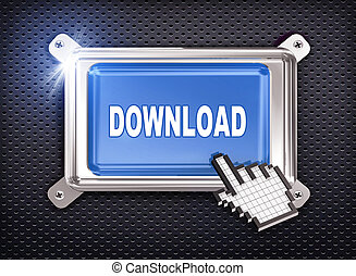 3d button hand cursor - download