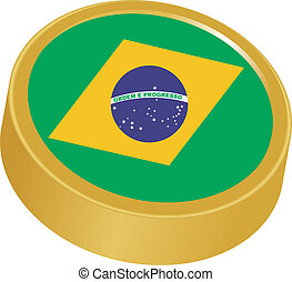 3d button in colors of Brazil
