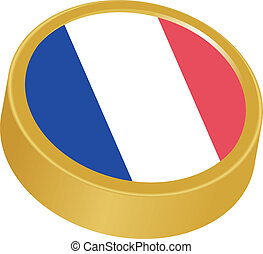 3d button in colors of France