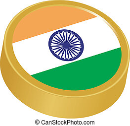 3d button in colors of India