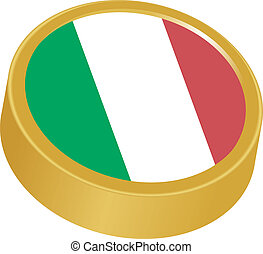 3d button in colors of Italy