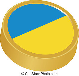 3d button in colors of Ukraine