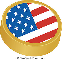 3d button in colors of USA
