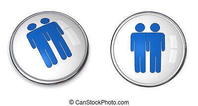 3D Button Male Couple Pictogram