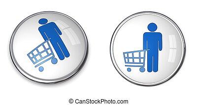 3D Button Man Shopping