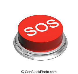 3d button of red color with inscripation SOS