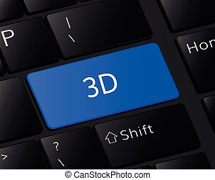 3d button on keyboard. 3d concept . 3d illustration