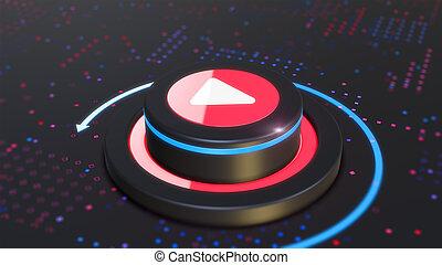 3D Button Play media