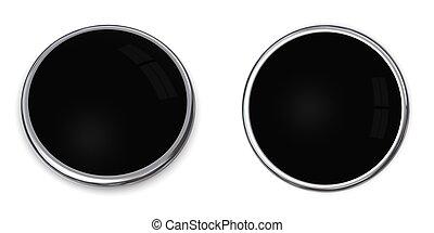 3D Button Solid Black