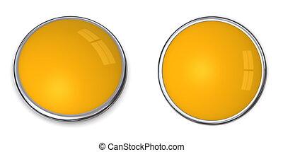 3D Button Solid Orange/Ochre - 3D button in solid...