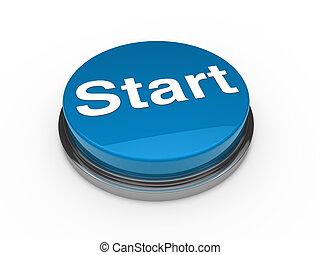 3d button start blue push technology press