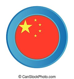 3D Button with the Flag of China