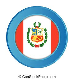 3D Button with the Flag of Peru