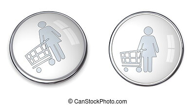 3D Button Woman Shopping
