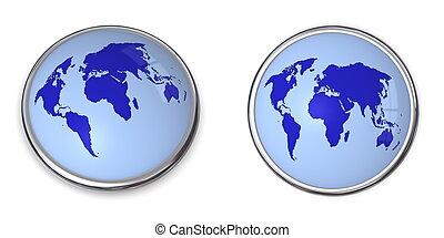 3D Button World Map Blue