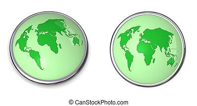 3D Button World Map Green