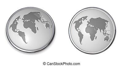 3D Button World Map Grey