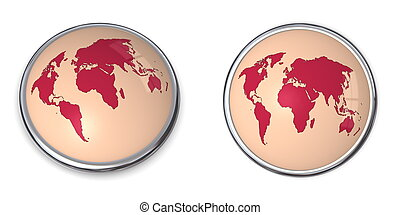 3D Button World Map Red