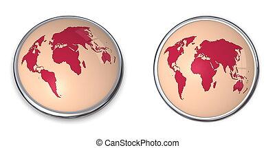 3D Button World Map Red
