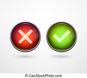 3D buttons yes/no - Yes/No 3D choice button symbols. Vector...