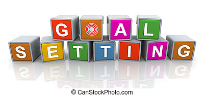3d buzzword text 'goal setting' - 3d colorful buzzword 'goal...