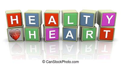 3d buzzword text 'healthy heart'