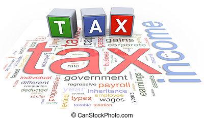 3d buzzword text tax - 3d colorful buzzword text 'tax' on...