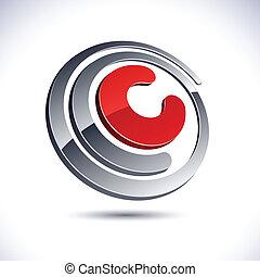 Vector illustration of 3D C symbol.