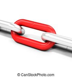 3D, cadena, enlaces, metálico