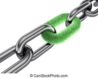 3d, cadena, pasto o césped, enlace, naturaleza, protección