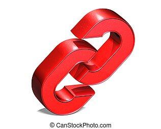 3d, cadena, rojo, señal, encima, fondo blanco